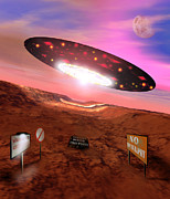 Ufo Photos - Computer Artwork Of A Ufo Flying Over Area 51 by Victor Habbick Visions