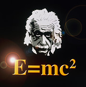 E Mc2 Framed Prints - Computer Artwork Of Albert Einstein And E=mc2 Framed Print by Laguna Design