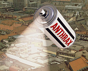 Can Art Prints - Computer Artwork Of Anthrax Spray Can Over A City Print by Laguna Design