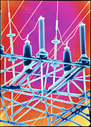 Electric Pylon Framed Prints - Computer Artwork Of High-voltage Power Lines Framed Print by Pasieka