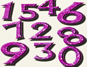 Fortune Telling Prints - Computer Artwork Of Numbers 0-9 Used In Numerology Print by Victor Habbick Visions