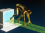 Computer Artwork Of The Internet As A Sprinter Print by Laguna Design