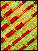Integrated Prints - Computer Circuit Board With Microchips Print by Damien Lovegrove
