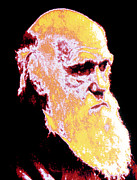 Darwin Photos - Computer Coloured Portrait Of Darwin by Pasieka