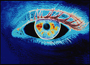 Negative Image Prints - Computer Graphic Of A Human Eye (negative-image) Print by Mehau Kulyk