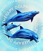 Alternative-therapy Posters - Computer Illustration Of Dolphin Therapy Poster by Victor Habbick Visions