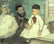 Pastel Portraits Posters - Comte Le Pic and his Sons Poster by Edgar Degas
