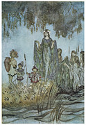 Arthur Paintings - Comus Sabrina rises attended by water-nymphs by Arthur Rackman