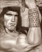 Muscles Mixed Media - Conan the Barbarian by Michael Mestas