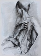 Nude Woman Charcoal Drawing Framed Prints - Concealed Framed Print by Kristina Laurendi Havens