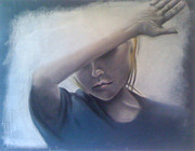 Self-portrait Pastels Prints - Concealment From the Sun Print by Julie Morrison