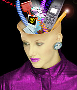 Cellphone Prints - Concept Of A Womans Head And Communication Print by Victor Habbick Visions