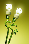 Green Power Prints - Conceptual lamps Print by Carlos Caetano
