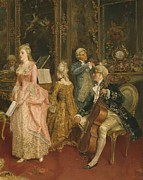 Standing Painting Framed Prints - Concert at the time of Mozart Framed Print by Ettore Simonetti