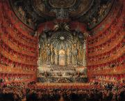Stage Painting Metal Prints - Concert given by Cardinal de La Rochefoucauld at the Argentina Theatre in Rome Metal Print by Giovanni Paolo Pannini or Panini