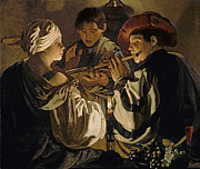 Flute Player Framed Prints - Concert Framed Print by Hendrick Ter Brugghen