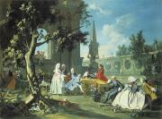 Servants Painting Framed Prints - Concert in a Garden Framed Print by Filippo Falciatore