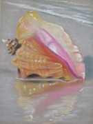 Print Pastels Posters - Conch on Beach Poster by Joan Swanson