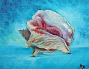 Seashell Fine Art Painting Prints - Conch shell study in blue Print by Hilary England