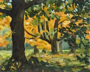 Concord Massachusetts Painting Prints - Concord Fall Trees Print by Claire Gagnon
