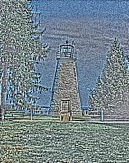 Concord Framed Prints - Concord Lighthouse HDG Art Framed Print by Tom Leach