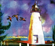 Canadian Geese Mixed Media - Concord Point Lighthouse by Dean Gleisberg