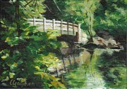 Concord Massachusetts Painting Posters - Concord River Bridge Poster by Claire Gagnon