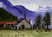 Old Barn Paintings - Concrete Barn Watercolor by Mary Gaines