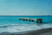 Sea Platform Prints - Concrete Pontoon At Nice From Beach Shore Print by Alexandre Fundone