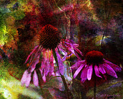 Layered Digital Art Prints - Cone Flower Beauties Print by J Larry Walker