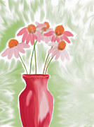 Heidi Painting Posters - Coneflower Still Life Poster by Heidi Smith