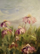 Impasto Oil Paintings - Coneflowers by Donna Tuten