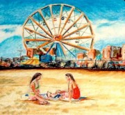 Rides Drawings - Coney Island Beach by Kimberly Simon