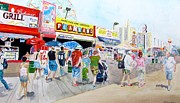 Amusements Drawings Posters - Coney Island Poster by Beth Saffer