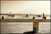 York Beach Framed Prints - Coney Island Boardwalk Framed Print by Madeline Ellis