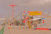 Parachute Jump Prints - Coney Island Boardwalk Print by Mark Gilman