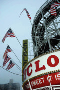 Red White And Blue Digital Art Prints - Coney Island Cyclone Print by Anahi DeCanio