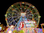 Kendall Posters - Coney Islands Famous Amusement Park And Wonder Wheel Poster by Kendall Eutemey
