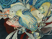 Tropical Fish Painting Originals - Confab from within by Liduine Bekman