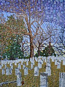 Cemetery Painting Posters - Confederate Cemetery at Oakwood Poster by Micah Mullen