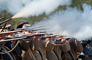 Reenactment Art - Confederate Firing Line by Kenneth Albin