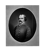 American History Mixed Media Prints - Confederate General Albert Sidney Johnston Print by War Is Hell Store
