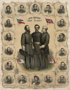 America  Painting Framed Prints - Confederate Generals of The Civil War Framed Print by War Is Hell Store