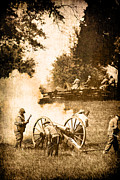 Gray Horses Photos - Confederate Soldiers at the Canon by Stephanie Frey
