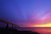 Pillar Box Prints - Confederation Bridge At Sunset Print by David Nunuk