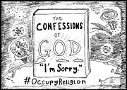 Book Cover Drawings - Confessions of God book title cartoon by Yasha Harari