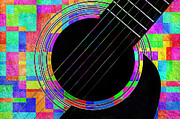 Confetti Prints - Confetti Guitar Print by Andee Photography
