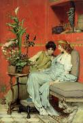 Statue Portrait Paintings - Confidences by Sir Lawrence Alma-Tadema