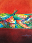 Aquatic Life Pastels Framed Prints - Confined but beautiful Framed Print by Benedict Olorunnisomo