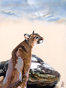 Mountain Lion Paintings - Confluence by J W Baker